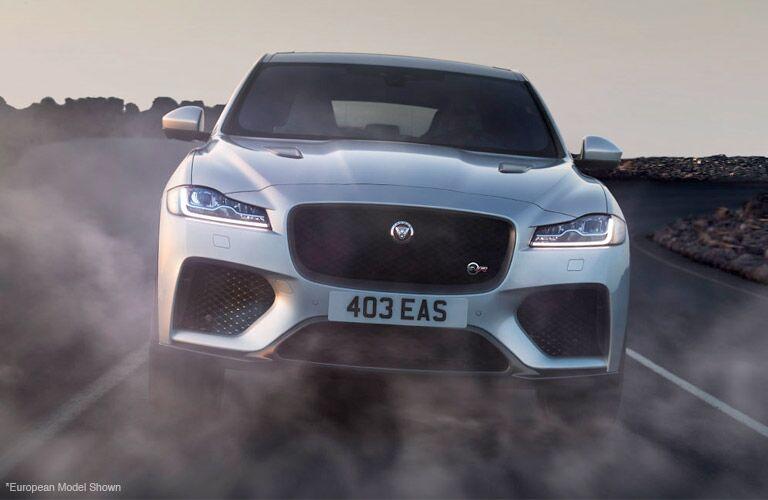 2019 jaguar f-pace svr front closeup driving