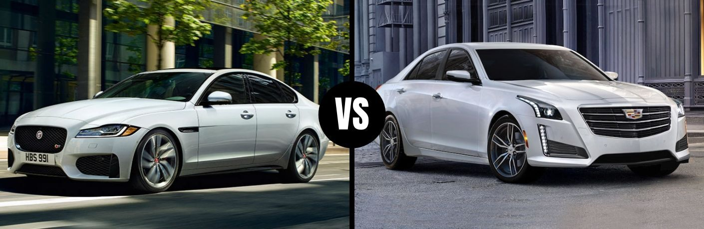 Comparison image of a white 2019 Jaguar XF and a white 2019 Cadillac CTS