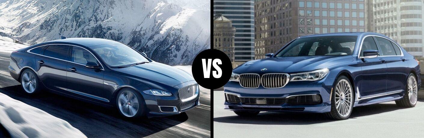 Comparison image of a gray 2019 Jaguar XJ and a blue 2019 BMW 7-Series