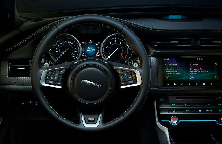 Driver's cockpit of the 2019 Jaguar XF sedan