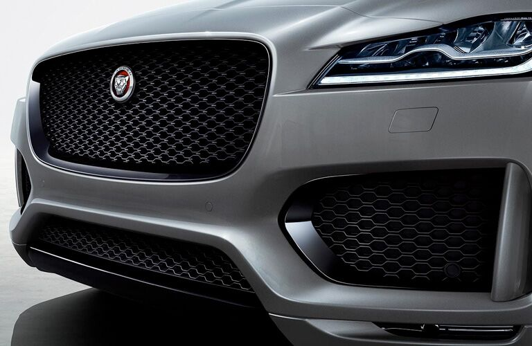 Grille and headlights on silver 2020 Jaguar F-PACE