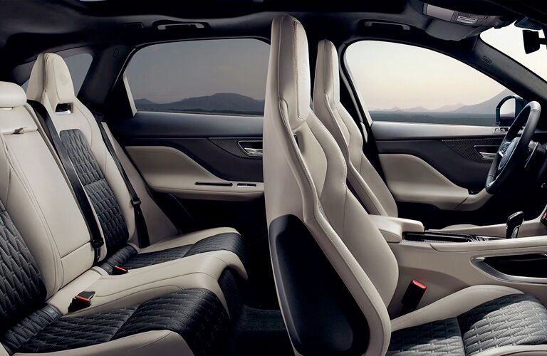 Black and beige seats in 2020 Jaguar F-PACE