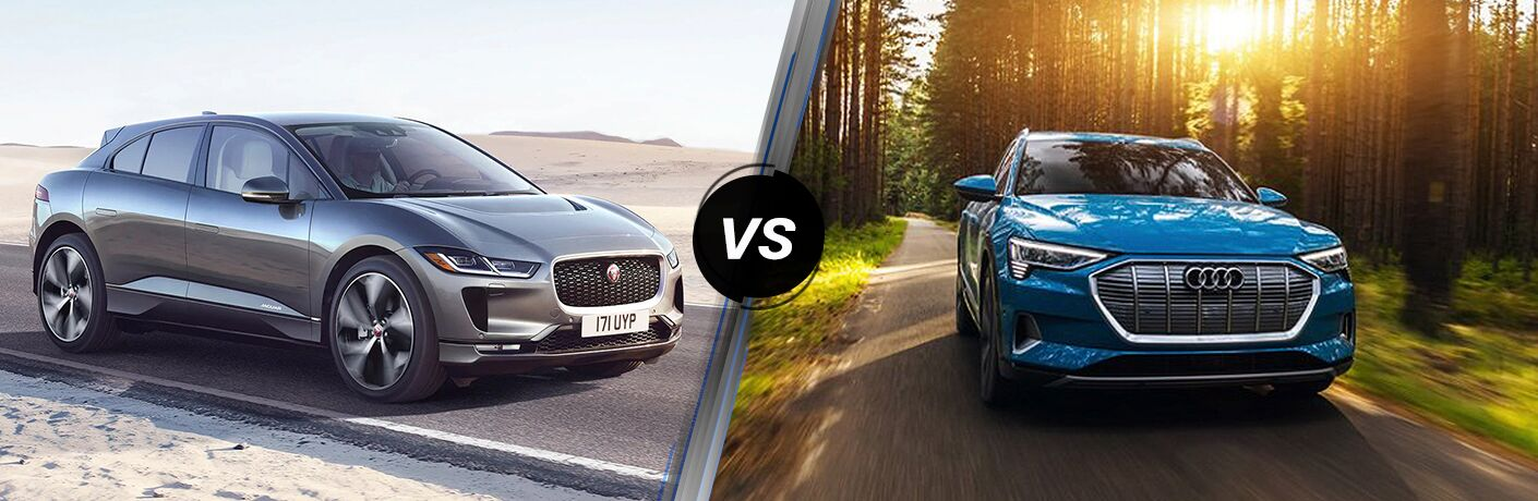 Grey 2020 Jaguar I-PACE, VS icon, and blue 2020 Audi e-tron