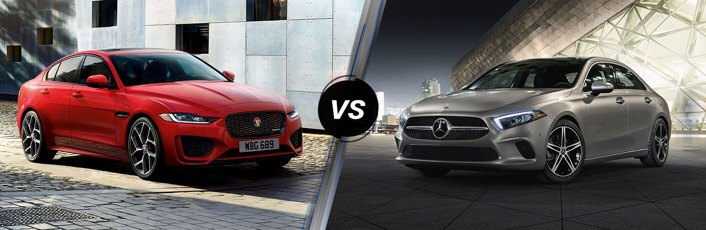 Red 2020 Jaguar XE, VS icon, and gray 2020 Mercedes-Benz A-Class