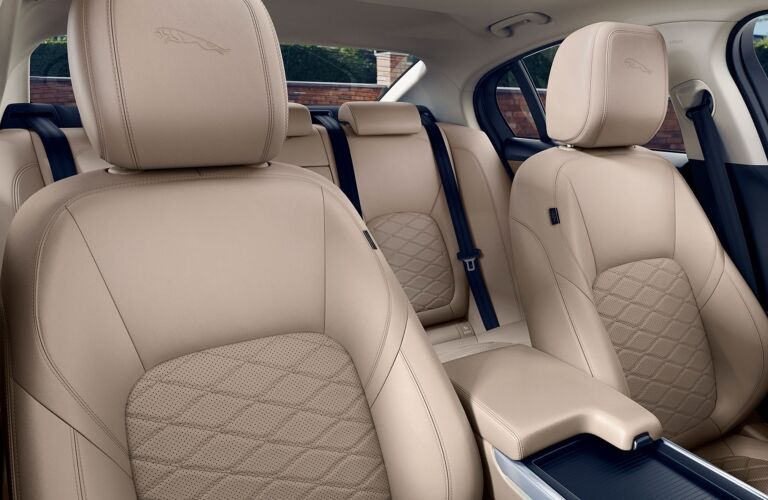 Interior view of the beige seating inside a 2020 Jaguar XE