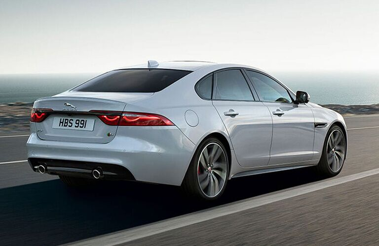Rear view of white 2020 Jaguar XF Sedan