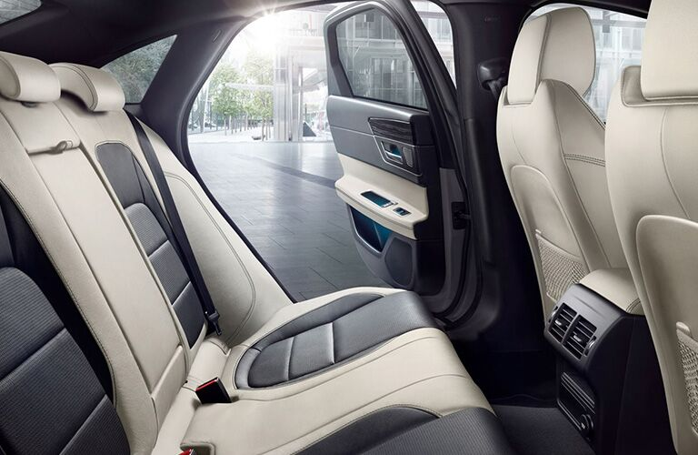 Black and white rear seats in 2020 Jaguar XF Sedan