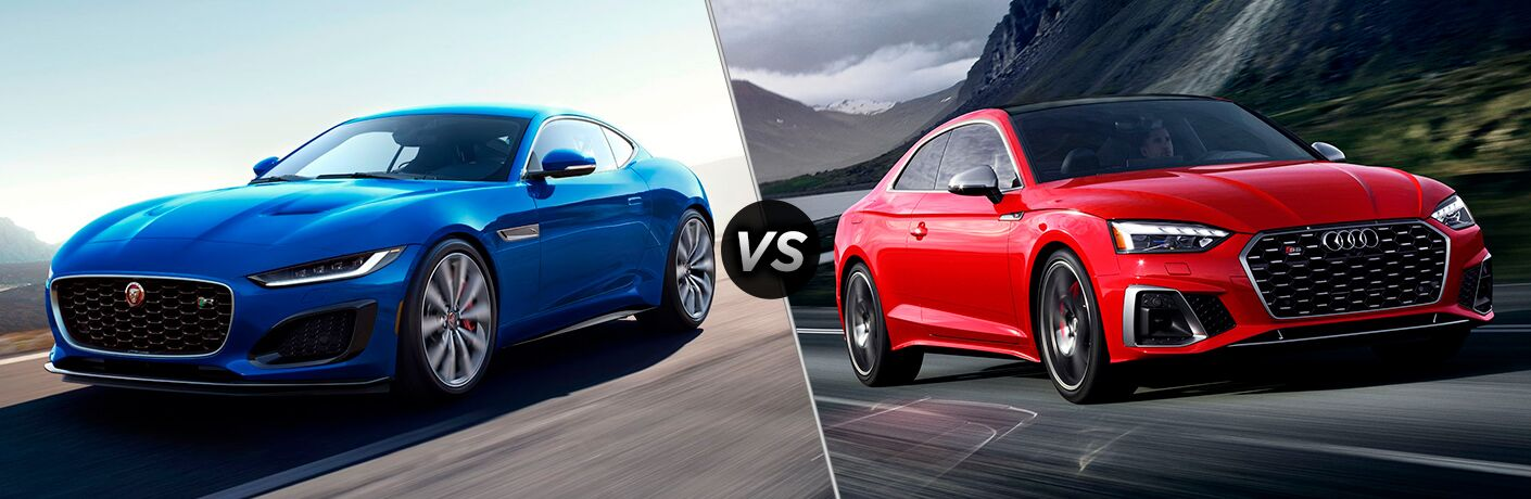 Blue 2021 Jaguar F-TYPE, VS icon, and red 2020 Audi S5