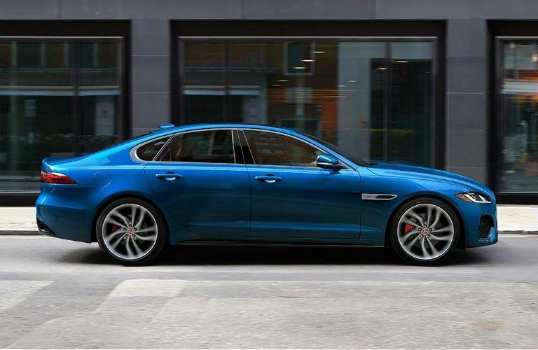Side of blue 2021 Jaguar XF