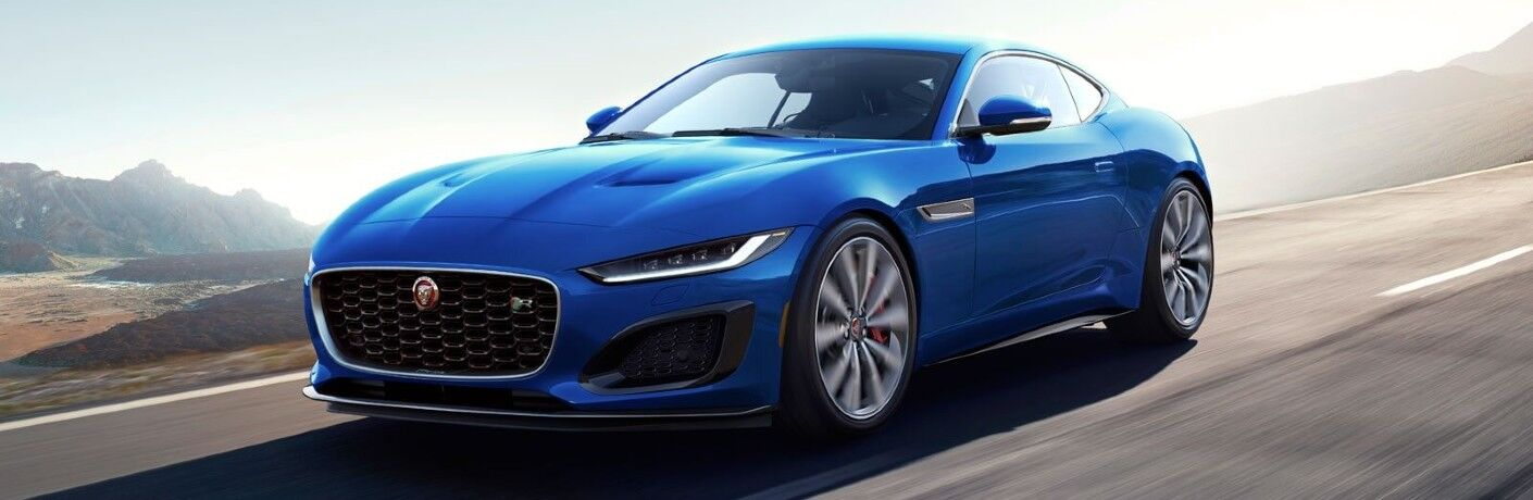 2021 jaguar f-type blue exterior front driver side