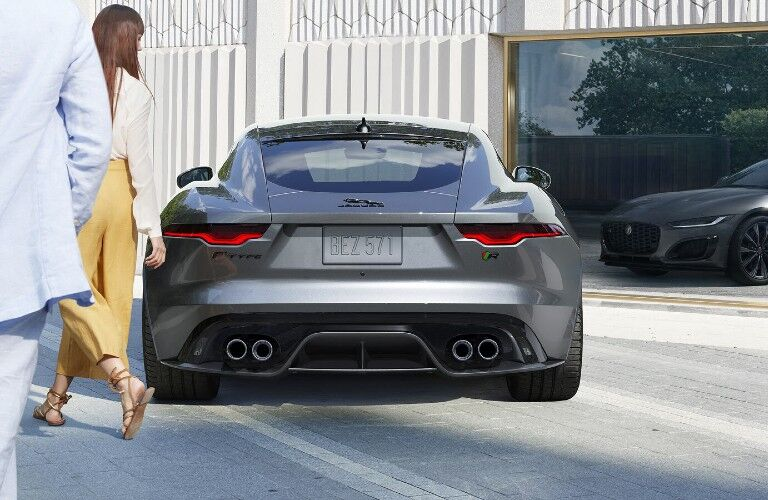 2021 jaguar f-type exterior rear couple walking past