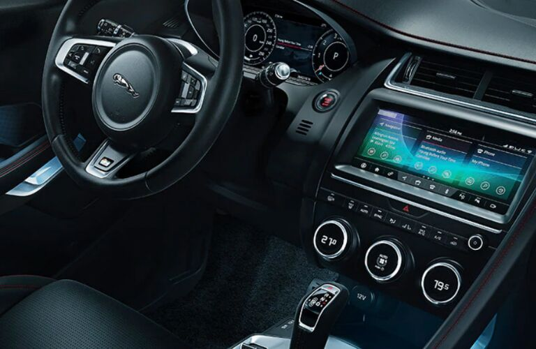 Steering wheel, gauges, and touchscreen in 2020 Jaguar E-PACE
