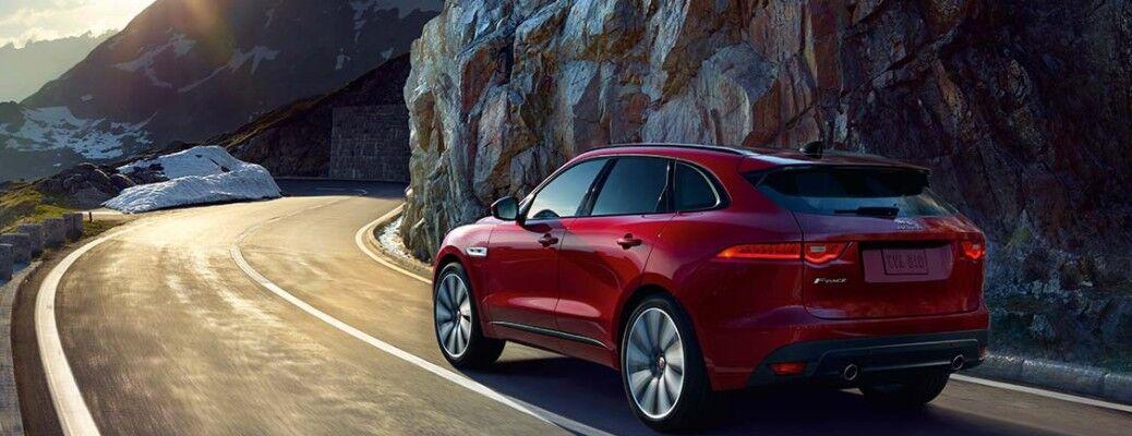 2021 Jaguar F-Pace driving mountain side