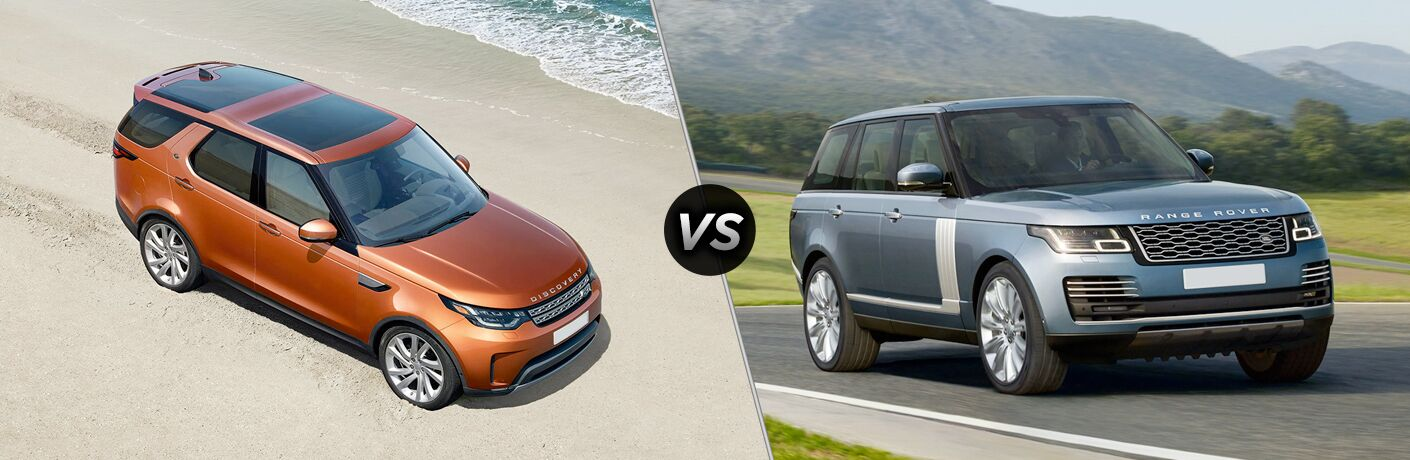 2018 land rover discovery and 2018 land rover range rover side by side