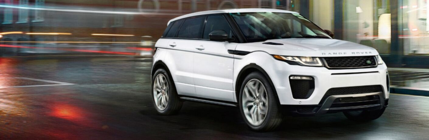 2018 land rover range rover evoque driving at night front view