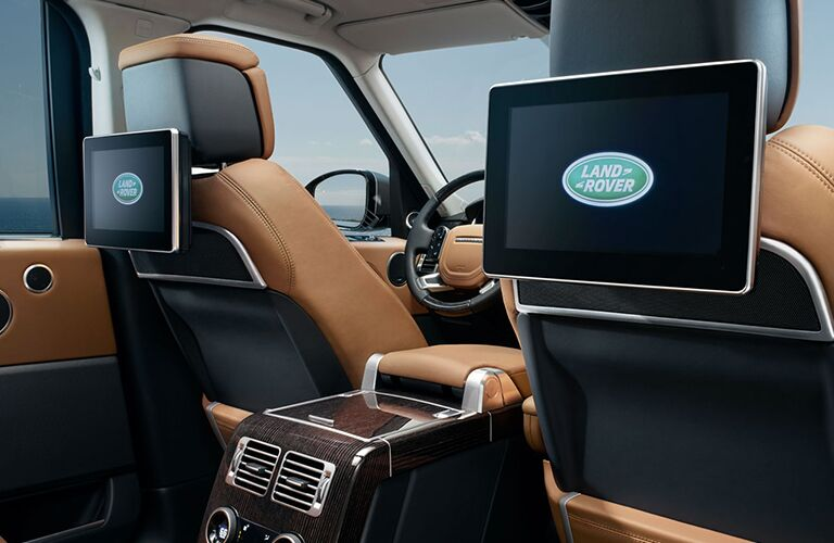 monitors on back of front seats inside of land rover range rover