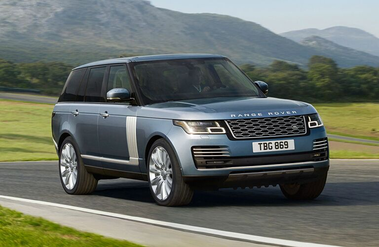 front right side view of blue land rover range rover