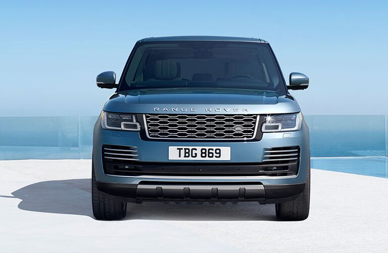 front view and grille of blue land rover range rover