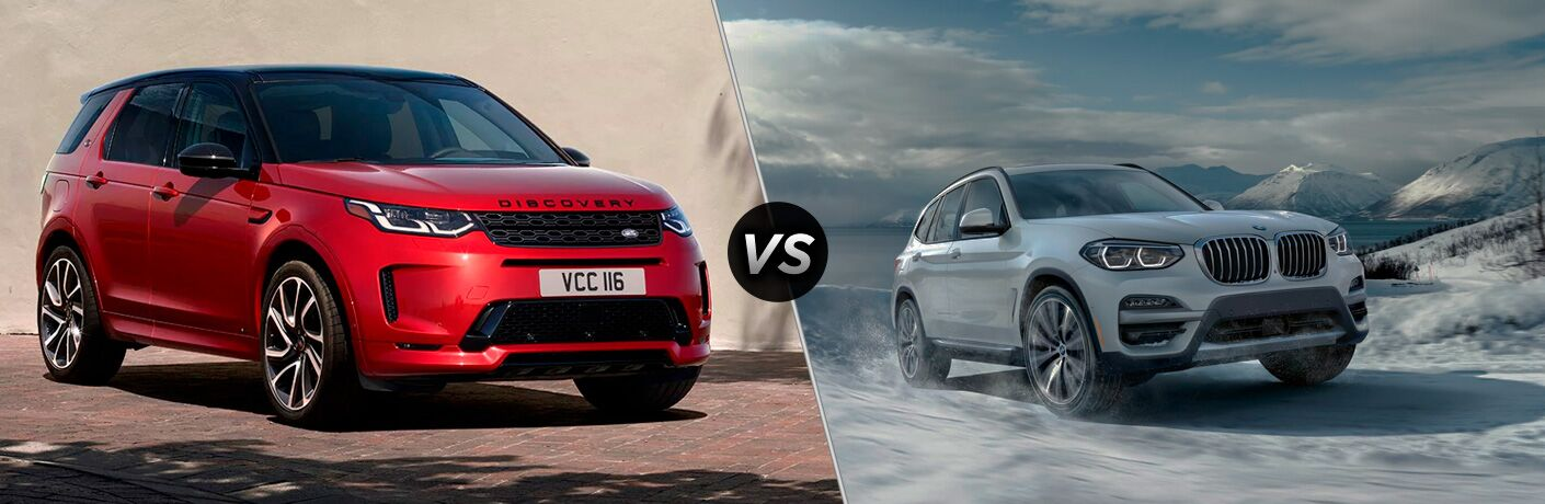 Red 2020 Land Rover Discovery Sport, VS icon, and white 2020 BMW X3
