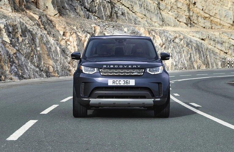 2020 Land Rover Discovery front view on a road