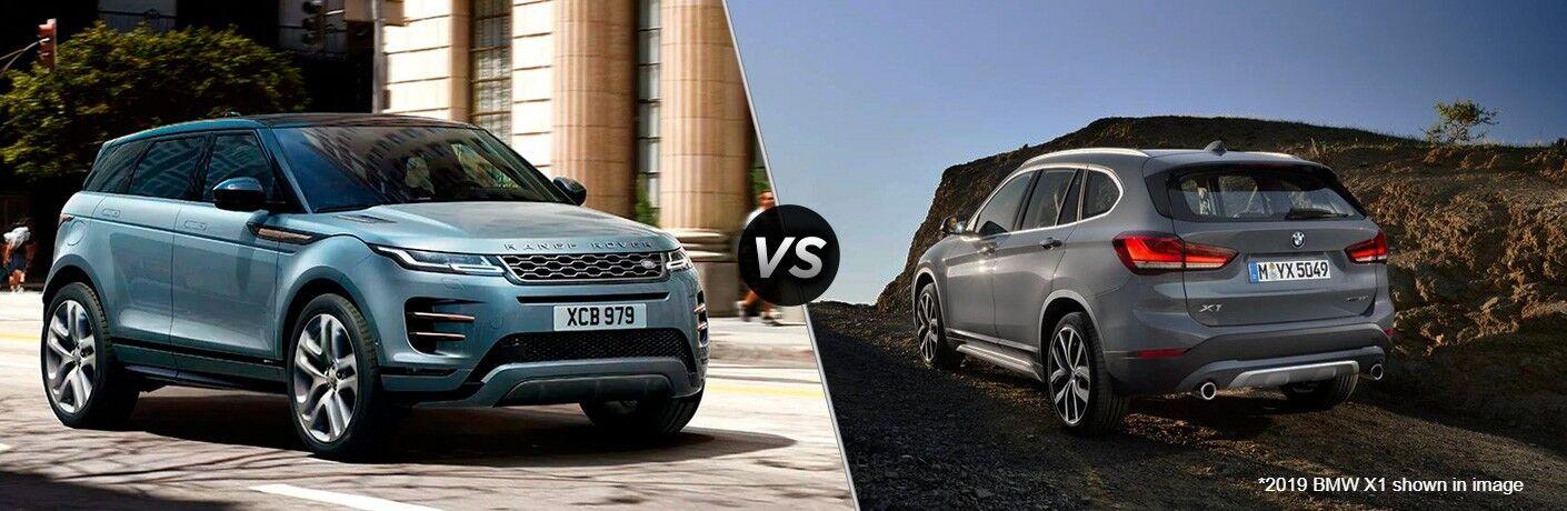 Blue 2020 Land Rover Range Rover Evoque, VS icon, and grey 2019 BMW X1