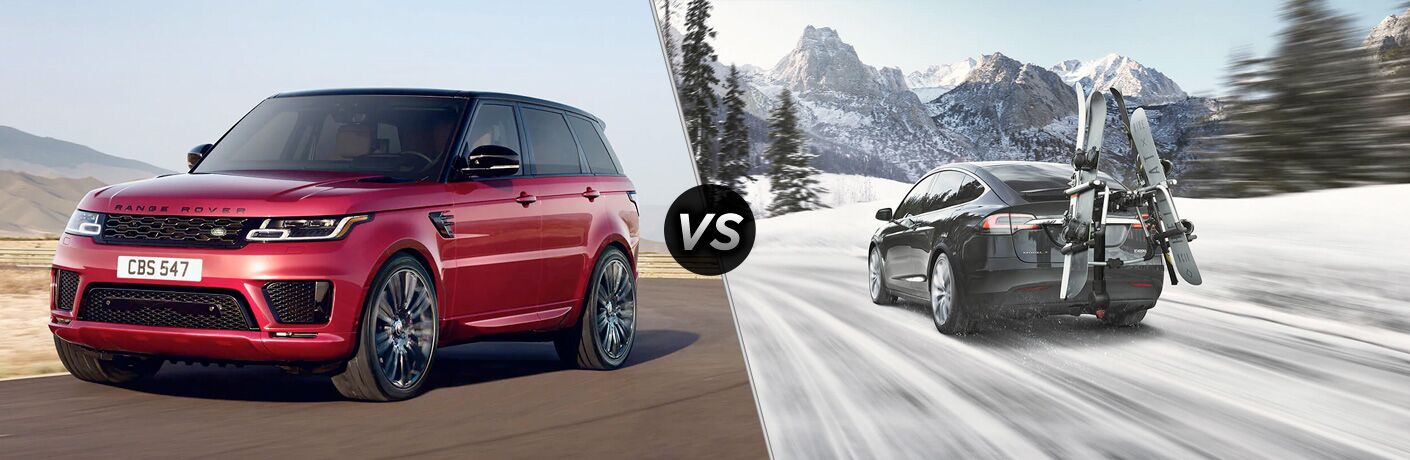 Red 2020 Land Rover Range Rover Sport, VS icon, and black 2020 Tesla Model X