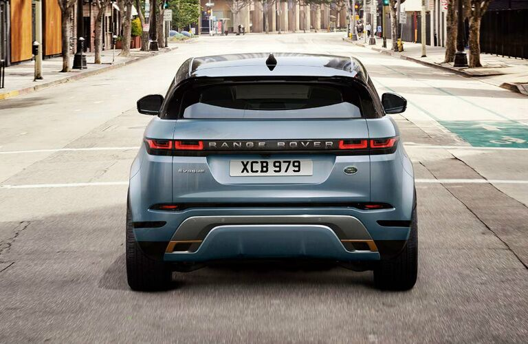 Rear view of light blue 2020 Land Rover Range Rover Evoque