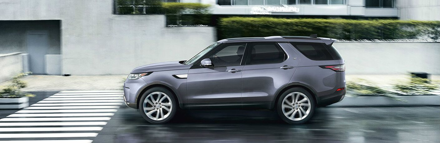 Side view of grey 2020 Land Rover Discovery