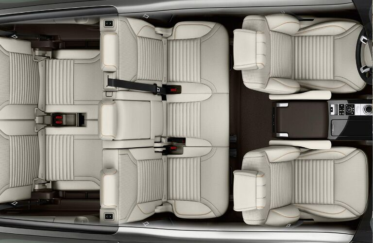 Overhead view of white seats in 2020 Land Rover Discovery