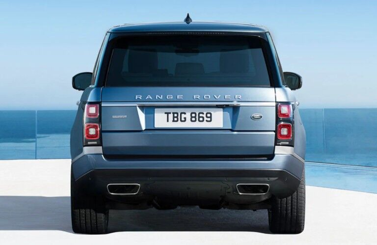 Rear view of blue 2020 Land Rover Range Rover