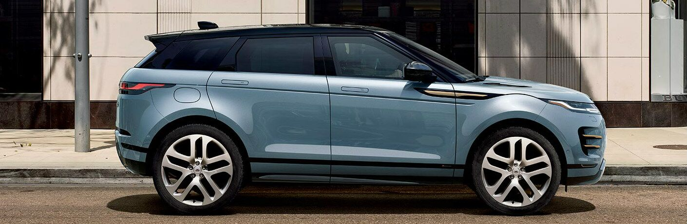 Side view of light blue 2020 Land Rover Range Rover Evoque