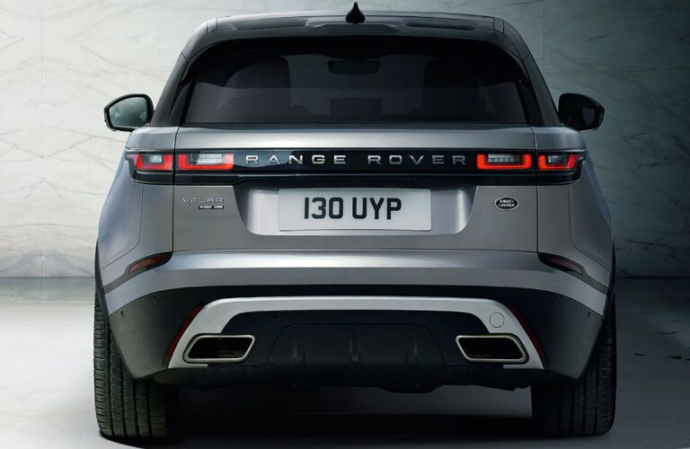 Rear view of silver and black 2020 Land Rover Range Rover Velar