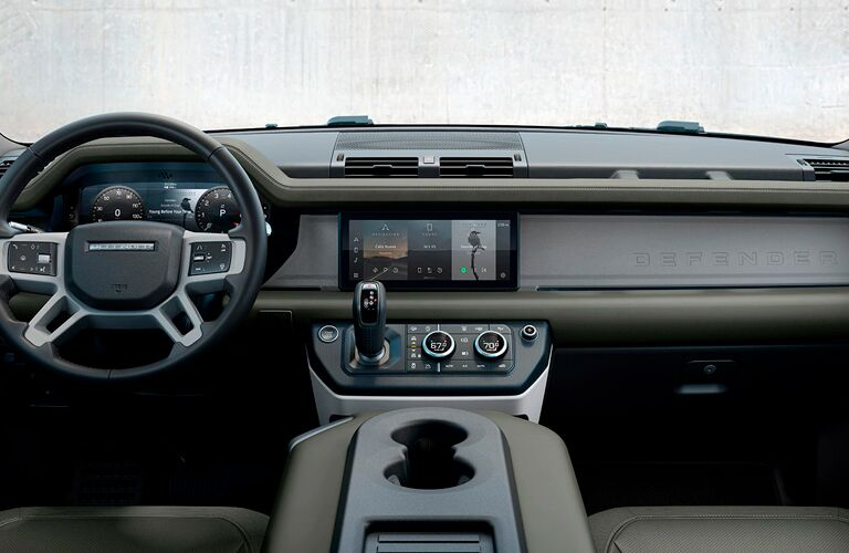 The front interior inside the 2021 Land Rover Defender.