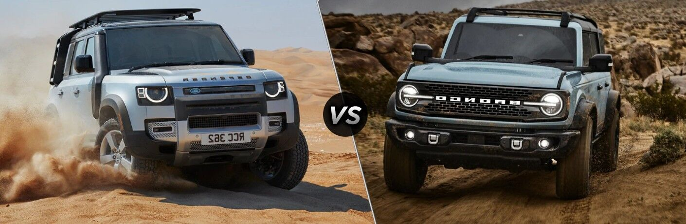 A gray 2021 Land Rover Defender Compared to a gray 2021 Ford Bronco.