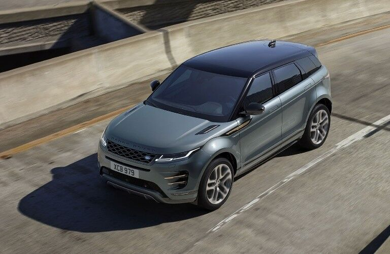 The front and top view of a gray 2021 Land Rover Range Rover Evoque.