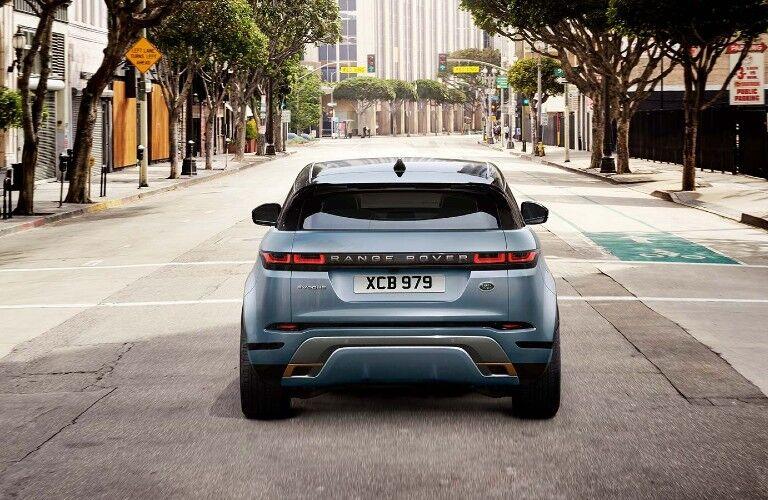 The rear view of a gray 2021 Land Rover Range Rover Evoque.
