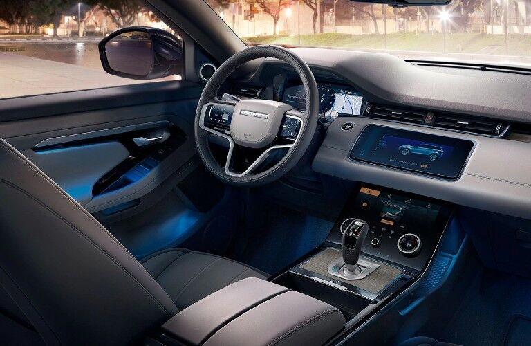 The front interior inside a 2021 Land Rover Range Rover Evoque.
