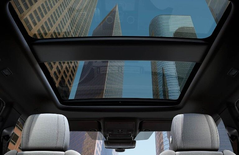 The interior view of the sunroof inside the 2021 Land Rover Range Rover Evoque.