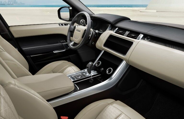 The front interior inside a 2021 Land Rover Range Rover Sport  HSE Special Edition.