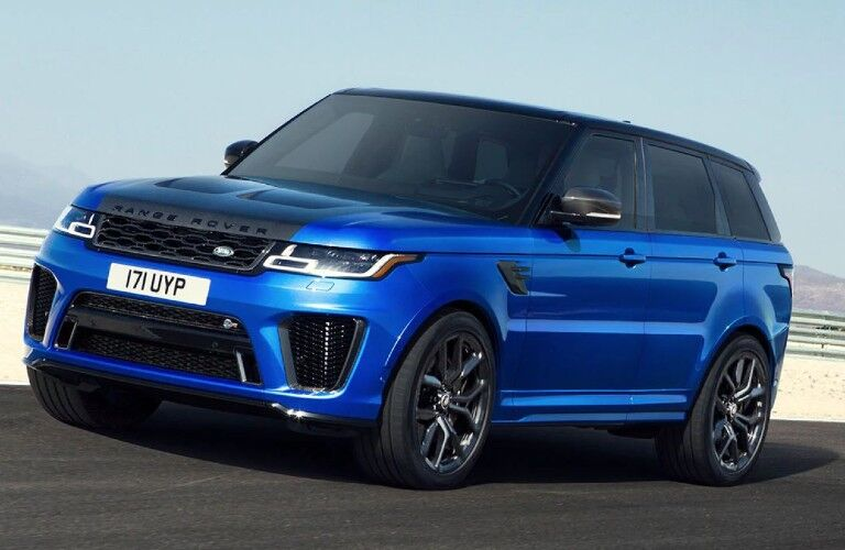 blue 2020 Land Rover Range Rover Sport side view