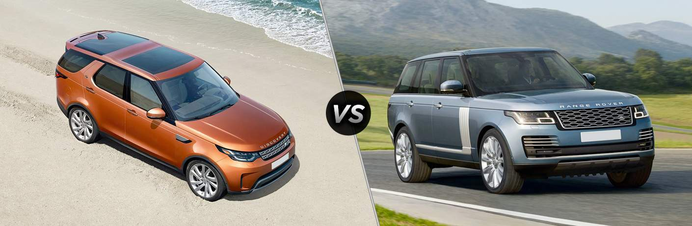 2018 land rover discovery and land rover range rover side by side