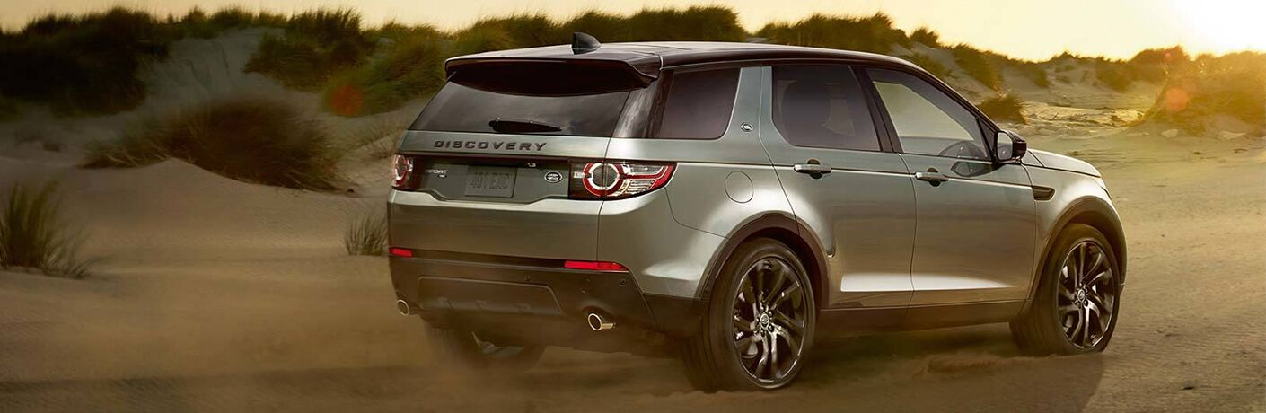 rear view of dark gray land rover discovery sport