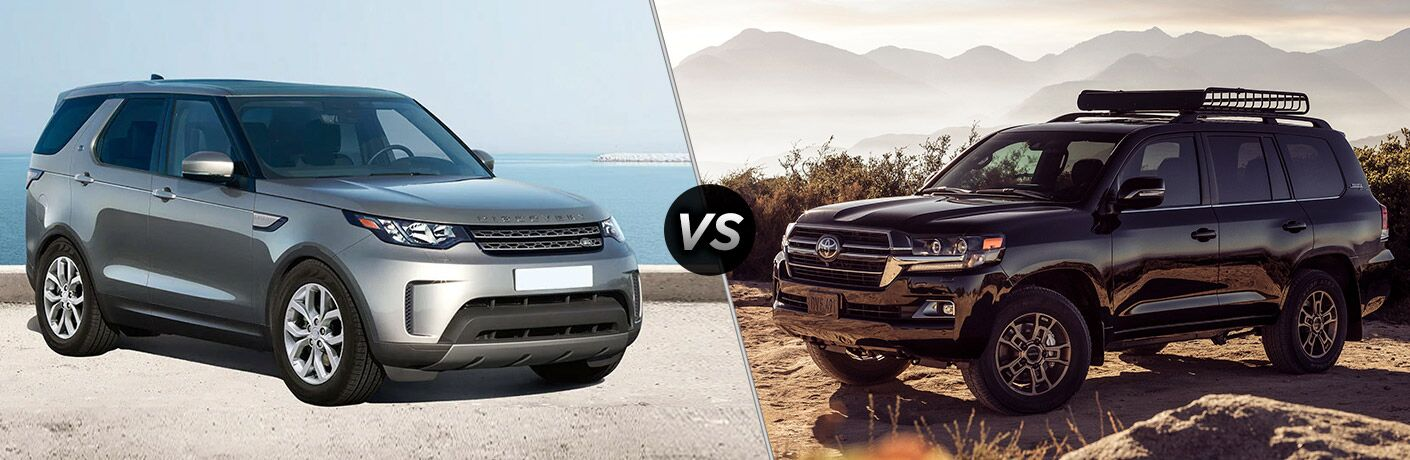 Silver 2020 Land Rover Discovery, VS icon, and black 2020 Toyota Land Cruiser