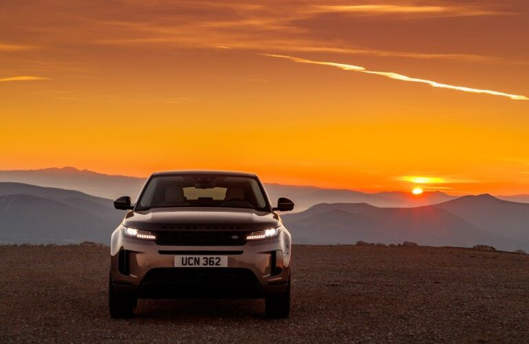 front of silver 2020 Land Rover Evoque