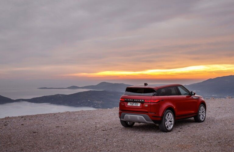 rear of red 2020 Land Rover Evoque