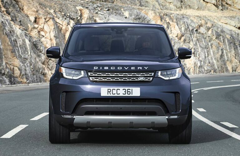 Front view of dark blue 2020 Land Rover Discovery