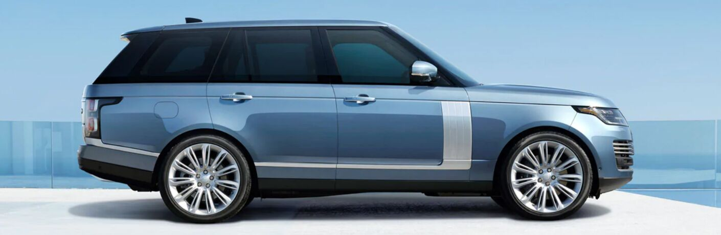 Side view of blue 2020 Land Rover Range Rover