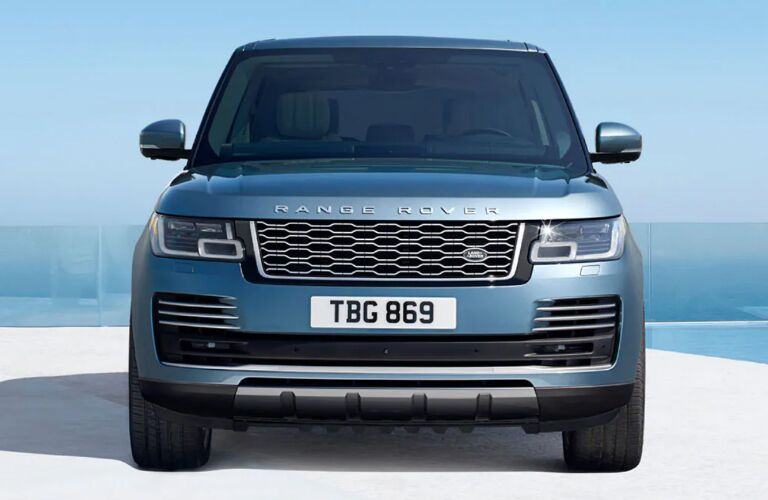 Front view of blue 2020 Land Rover Range Rover