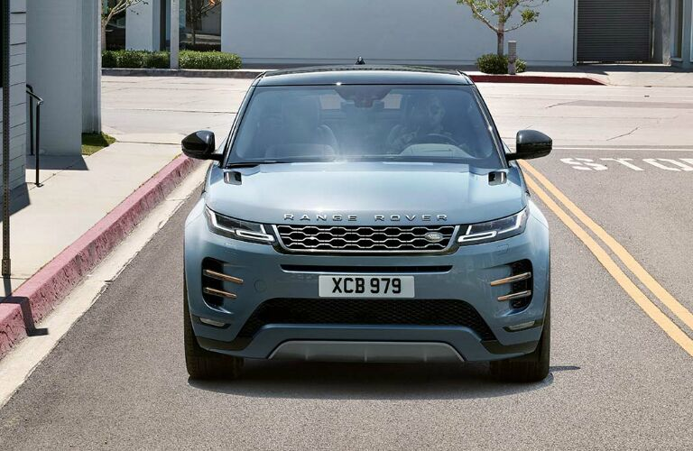 Front view of blue 2020 Land Rover Range Rover Evoque