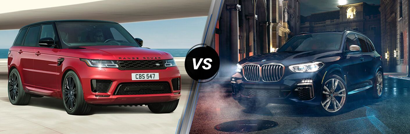 Red 2020 Land Rover Range Rover Sport, VS icon, and blue 2020 BMW X5